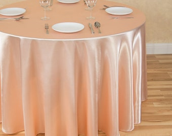 120 Inch Round Peach Tablecloth Satin | Wedding Tablecloth