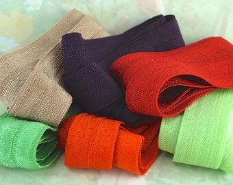 Stretch Ribbons Fold Over Elastic Multi Sets 2 ft each of 6 colors foe Elastic by the yard Green, Brown Purple Orange Autumn Colors