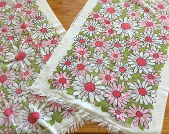 Vintage Set of 2 St Mary's Pink Daisy Hand Towels with Frayed Edge - pink floral hand towel, daisy hand towel, daisy towel, St Marys towel