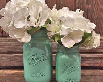 MASON JAR   Jade Green   One (1) Vintage-inspired, Painted and Distressed Mason Jars ; Quart & Pint Size