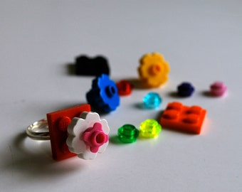 Play Day Lego Ring in Red - Build Your Own LEGO Jewelry - Flower, Pretend - Upcycled - Kid Jewelry - Tweens - Stocking Stuffer