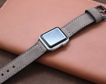 Hand Stitched Apple Watch Band in WARM GREY