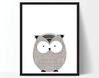 Nursery Art, Nursery Printable, Childrens Art, Owl Print, Animal Print, Scandinavian Art, Kids Art, Digital Download, Digital Print