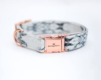Marble Dog Collar    Metal Buckle    Rose Gold Hardware    Adjustable Dog Collar    Fabric Dog Collar   
