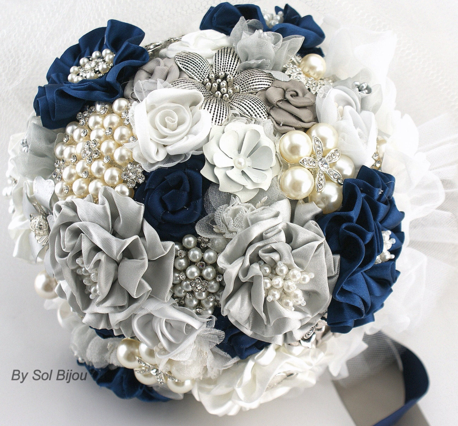 Brooch Bouquet Navy Blue White Gray Silver Vintage