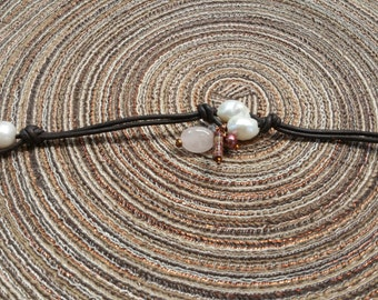 Twin Pearl Leather Bracelet with Grace Collection Charms