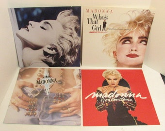 Set of 4 Madonna Record Store Promo Album Cover Posters, Vintage Promotional POS Window Display Dummy LP Covers 1980s