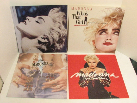 4 Vintage Madonna Record Store Promo Album Cover Posters, Promotional POS Window Display Dummy LP Covers 1980s