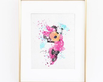 Minnie Mouse Disney Princess Watercolor silhouette Fine Art Print, instant digital download high quality poster wall  kids or nursery decor