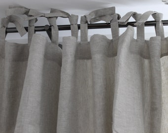 Linen curtain with ties. Stonewashed. Bedroom backdrop. Curtain panel. Room divider. White, natural flax colors
