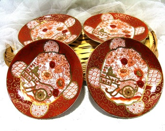 Vintage Japanese porcelain saucers/mini plates/set of 4/collectible china saucers/japanese china set/handpainted china saucers set of 4