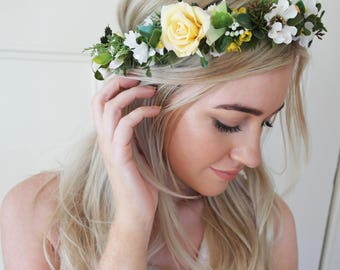 Daisy, flower crown, wildflower crown, yellow, and, green flower crown, festival flowers, faerie crown,  spring flowers, floral halo