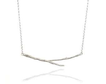 Silver Horizontal Twig Necklace