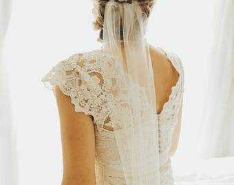 Veil Add-on - Floral Comb and Veil - Flower Crown with Veil
