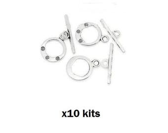 x 10 silver patterned toggle clasp sets