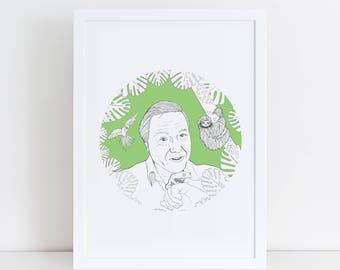 David Attenborough Print | Animal Print | Sloth | Parrots | Frogs | Nature Inspiration | Jungle Print