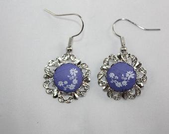 """Earrings """"Laurette"""" white background blue"""