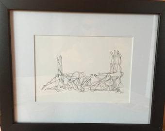 "Yoga Art - Ink Drawing Print (5""x7"" image size). Ashtanga Yoga ""Finishing Series""."