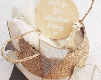 Wooden wall plaque 'And so the adventure begins' kids room decor