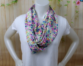 Multicolor Floral Infinity Scarf, Rainbow Floral Loop Scarf, Spring Floral Scarf, Spring Floral Infinity Scarf, Spring Scarf