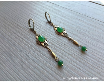 Art deco earrings with green agate cabochon, Isolde collection