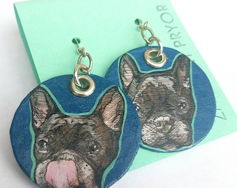 Black Frenchie hand-painted French bull dog earrings - mint and royal blue