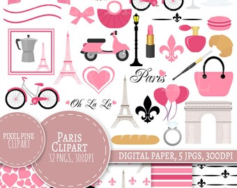 Paris Clipart Set, Pink Paris Clipart, 32 PNGs, 5 Paris Digital Paper JPGs, Commercial Use, black and pink French clipart, Eiffel Tower pngs