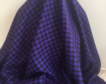 Royal and Black Wool Houndstooth - Sold by the Yard