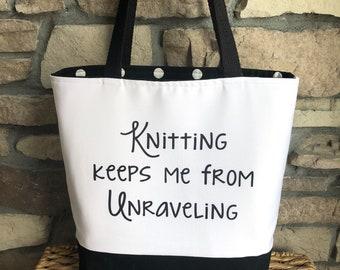 Knitting Tote Bag / Gift for Knitter / Knitting Project Bag / Mother's Day Gift / Funny Knitting Bag / Bag to Hold Yarn / Yarn Tote Bag