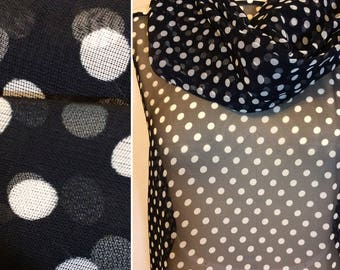 Black and White POLKA DOTS fabric sheer see through chiffon by the yard hat trim hat band scarves for women bridal robe lingerie kimono