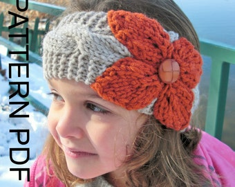 Ear Warmer Headband Knitting  PATTERN Instant Download Pattern Digital Toddler   Child   Adult  Sizes    3 Sizes  PDF  Cable Knit   headband