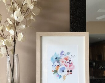 Watercolor flower bouquet
