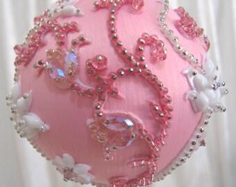 244 CB Pink Flowering Vines Ornament