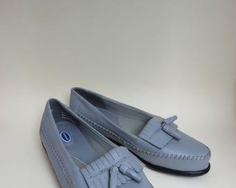 Size 9 1/2 Wide Gray Loafers Women's Leather Fringe Tassel Slip On Flats