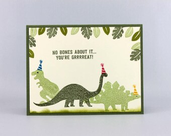 Dinosaur Birthday Card - Hand Stamped Prehistoric Happy Birthday Card - Boys Handmade Dinosaur Greeting Card - Masculine Birthday Card