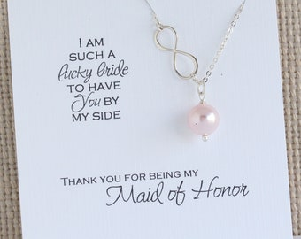 Maid of Honor Gift | Pearl Infinity Necklace | Wedding party Jewelry