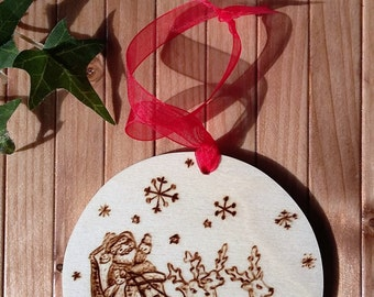 Wooden Christmas decoration Santa Claus with reindeer-Pirografata