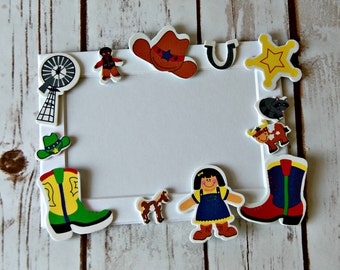Cowboy Themed Craft Kit, Magnet Craft, Ranch Party Activity, Children's Crafts, Wild West Picture Frame