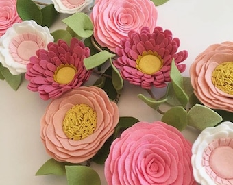 PINK WILDFLOWER GARLAND // Felt Flower Garland // Floral Garland // Nursery Decor // Party Decor // Roses + Daisies + Anemones