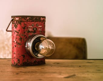 Rusty Red Lantern-Rusty Red lantern-Steampunk lamp-Bedside lamp-Loft Lighting-Vintage-Retro-Edison lamp