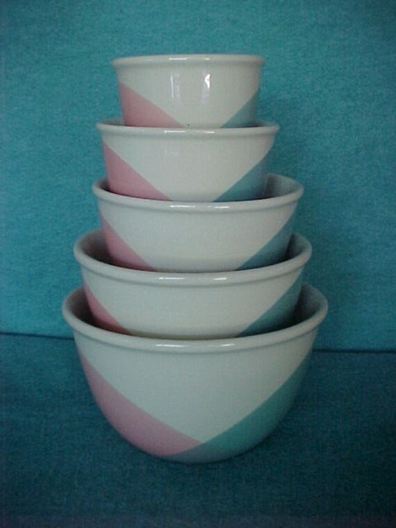 Hall China Tritone Mixing Bowl Set 5 Piece Complete Eva Zeisel