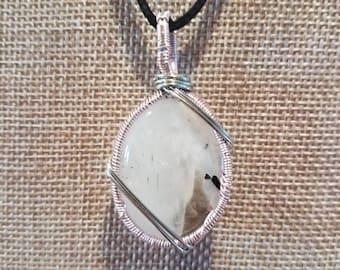 Light pink and silver wrapped Moonstone