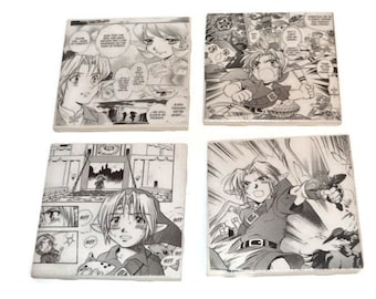 Legend of Zelda Coasters Set of 4 Link Tile coasters Father's Day Gift