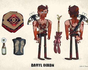 Daryl Dixon Seasons 1 to 3 - The Animated Walking Dead Model Sheet Print