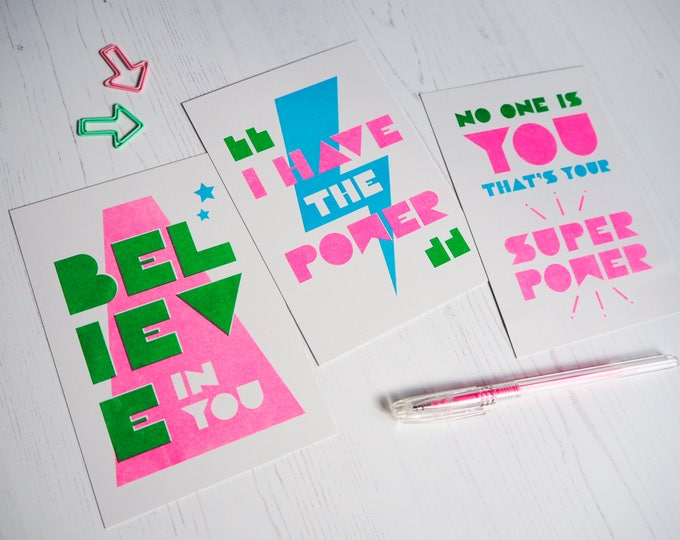 Positivity Print Set of 3 - Selection of Typographic Mini Prints of positivity - Risograph prints A6