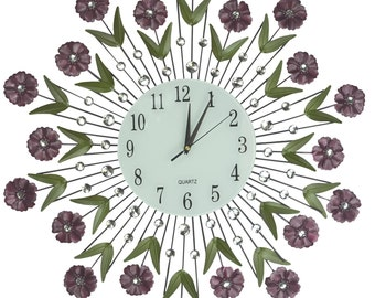 """Flower Burst Wall Clock, Size 24"""", Perfect for Housewarming Gifts, (Number 24"""")[Flwr Burst 52N]- Free Shipping"""