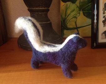 Felted fuzzy skunk, deep purple