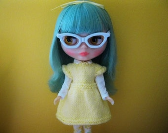 Blythe Doll Clothes Knitting Pattern Kimberly's Canary Yellow Dress PDF Download