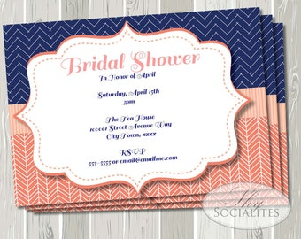 Coral and Navy Invitation | Herringbone, Chevron , Bridal Shower, Baby Shower, Birthday Party | INSTANT DOWNLOAD