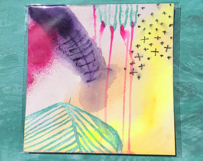 "Featured listing image: Wound / Colorful Watercolor Painting on Artist Grade 8"" x 8"" Paper / Art by Sam Pletcher"